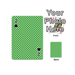 White Heart-Shaped Clover on Green St. Patrick s Day Playing Cards 54 (Mini)