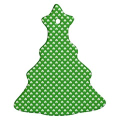 White Heart-Shaped Clover on Green St. Patrick s Day Christmas Tree Ornament (Two Sides)