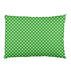 White Heart-Shaped Clover on Green St. Patrick s Day Pillow Case (Two Sides)