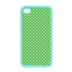 White Heart-Shaped Clover on Green St. Patrick s Day Apple iPhone 4 Case (Color)