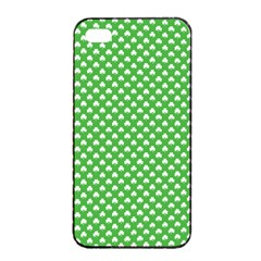 White Heart-Shaped Clover on Green St. Patrick s Day Apple iPhone 4/4s Seamless Case (Black)