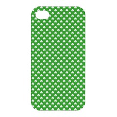 White Heart-Shaped Clover on Green St. Patrick s Day Apple iPhone 4/4S Hardshell Case