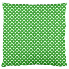 White Heart-Shaped Clover on Green St. Patrick s Day Large Cushion Case (Two Sides)