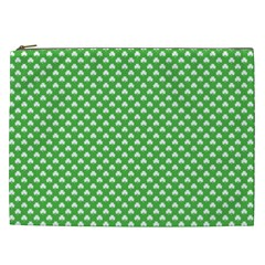 White Heart-Shaped Clover on Green St. Patrick s Day Cosmetic Bag (XXL)