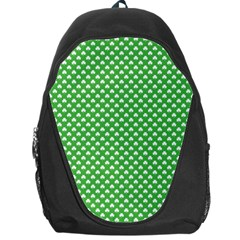 White Heart-Shaped Clover on Green St. Patrick s Day Backpack Bag