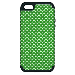 White Heart-Shaped Clover on Green St. Patrick s Day Apple iPhone 5 Hardshell Case (PC+Silicone)
