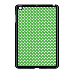 White Heart-Shaped Clover on Green St. Patrick s Day Apple iPad Mini Case (Black)