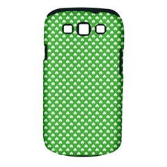 White Heart-Shaped Clover on Green St. Patrick s Day Samsung Galaxy S III Classic Hardshell Case (PC+Silicone)