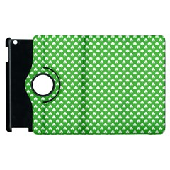 White Heart-Shaped Clover on Green St. Patrick s Day Apple iPad 2 Flip 360 Case