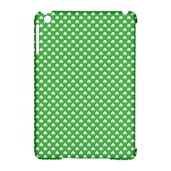 White Heart-Shaped Clover on Green St. Patrick s Day Apple iPad Mini Hardshell Case (Compatible with Smart Cover)
