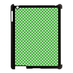 White Heart-Shaped Clover on Green St. Patrick s Day Apple iPad 3/4 Case (Black)