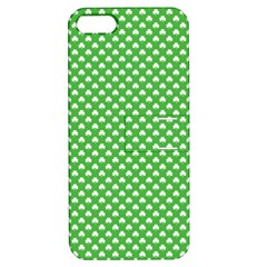 White Heart-Shaped Clover on Green St. Patrick s Day Apple iPhone 5 Hardshell Case with Stand