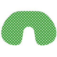White Heart-Shaped Clover on Green St. Patrick s Day Travel Neck Pillows