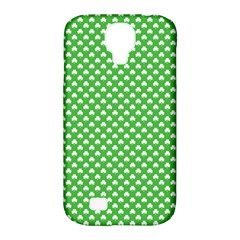 White Heart-Shaped Clover on Green St. Patrick s Day Samsung Galaxy S4 Classic Hardshell Case (PC+Silicone)
