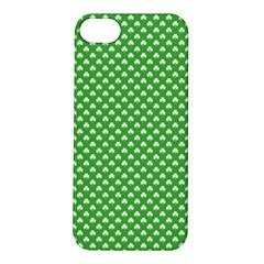 White Heart-Shaped Clover on Green St. Patrick s Day Apple iPhone 5S/ SE Hardshell Case
