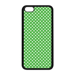 White Heart-Shaped Clover on Green St. Patrick s Day Apple iPhone 5C Seamless Case (Black)