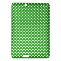 White Heart Shaped Clover On Green St  Patrick s Day Amazon Kindle Fire Hd (2013) Hardshell Case