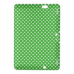 White Heart-Shaped Clover on Green St. Patrick s Day Kindle Fire HDX 8.9  Hardshell Case