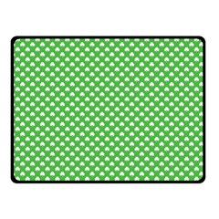 White Heart-Shaped Clover on Green St. Patrick s Day Double Sided Fleece Blanket (Small)
