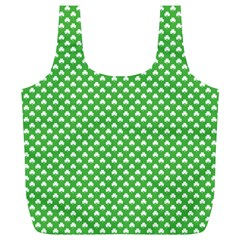 White Heart-Shaped Clover on Green St. Patrick s Day Full Print Recycle Bags (L)