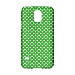 White Heart-Shaped Clover on Green St. Patrick s Day Samsung Galaxy S5 Hardshell Case