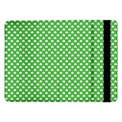 White Heart-Shaped Clover on Green St. Patrick s Day Samsung Galaxy Tab Pro 12.2  Flip Case