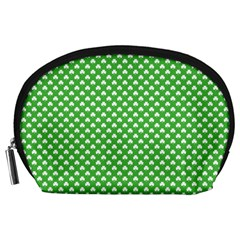 White Heart-Shaped Clover on Green St. Patrick s Day Accessory Pouches (Large)