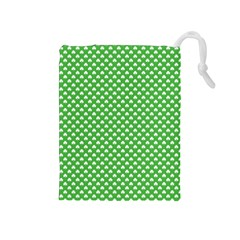White Heart-Shaped Clover on Green St. Patrick s Day Drawstring Pouches (Medium)