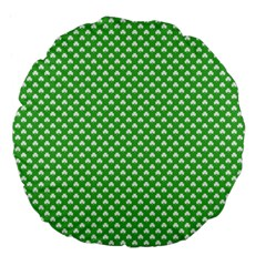 White Heart-Shaped Clover on Green St. Patrick s Day Large 18  Premium Flano Round Cushions