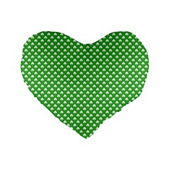 White Heart-Shaped Clover on Green St. Patrick s Day Standard 16  Premium Flano Heart Shape Cushions