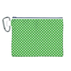 White Heart-Shaped Clover on Green St. Patrick s Day Canvas Cosmetic Bag (L)