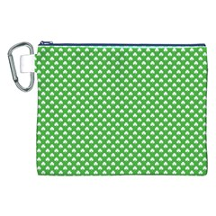 White Heart-Shaped Clover on Green St. Patrick s Day Canvas Cosmetic Bag (XXL)