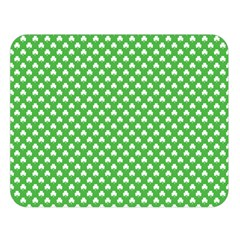 White Heart-Shaped Clover on Green St. Patrick s Day Double Sided Flano Blanket (Large)