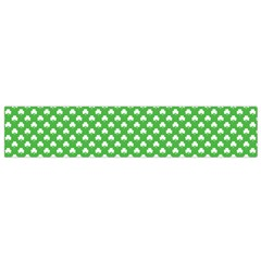 White Heart-Shaped Clover on Green St. Patrick s Day Flano Scarf (Small)