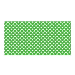 White Heart-Shaped Clover on Green St. Patrick s Day Satin Wrap