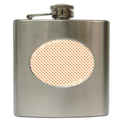 Orange Heart-Shaped Clover on White St. Patrick s Day Hip Flask (6 oz)