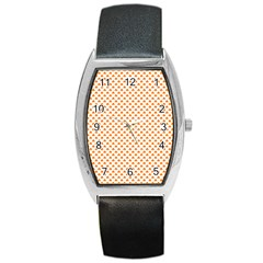 Orange Heart-Shaped Clover on White St. Patrick s Day Barrel Style Metal Watch