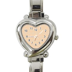 Orange Heart-Shaped Clover on White St. Patrick s Day Heart Italian Charm Watch