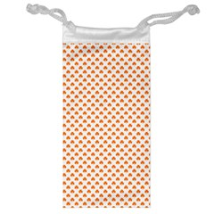 Orange Heart-Shaped Clover on White St. Patrick s Day Jewelry Bag