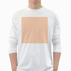 Orange Heart-Shaped Clover on White St. Patrick s Day White Long Sleeve T-Shirts