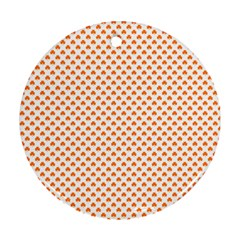 Orange Heart-Shaped Clover on White St. Patrick s Day Round Ornament (Two Sides)