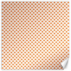 Orange Heart-Shaped Clover on White St. Patrick s Day Canvas 16  x 16