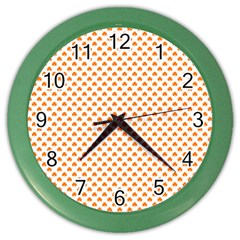 Orange Heart-Shaped Clover on White St. Patrick s Day Color Wall Clocks