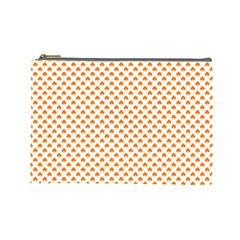 Orange Heart-Shaped Clover on White St. Patrick s Day Cosmetic Bag (Large)