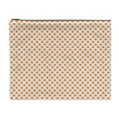 Orange Heart-Shaped Clover on White St. Patrick s Day Cosmetic Bag (XL)
