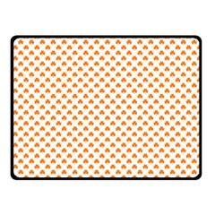 Orange Heart-Shaped Clover on White St. Patrick s Day Fleece Blanket (Small)