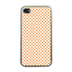 Orange Heart-Shaped Clover on White St. Patrick s Day Apple iPhone 4 Case (Clear)