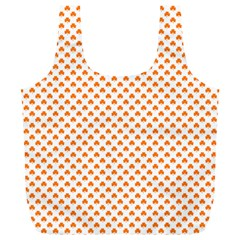 Orange Heart-Shaped Clover on White St. Patrick s Day Full Print Recycle Bags (L)
