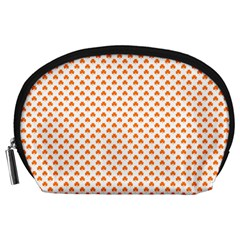 Orange Heart-Shaped Clover on White St. Patrick s Day Accessory Pouches (Large)