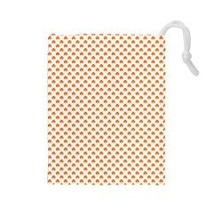 Orange Heart Shaped Clover On White St  Patrick s Day Drawstring Pouches (large)